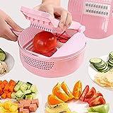 Cortador de verduras multifunción, rallador y picador con cesta de drenaje, trituradora de queso vegetal con pelador de...