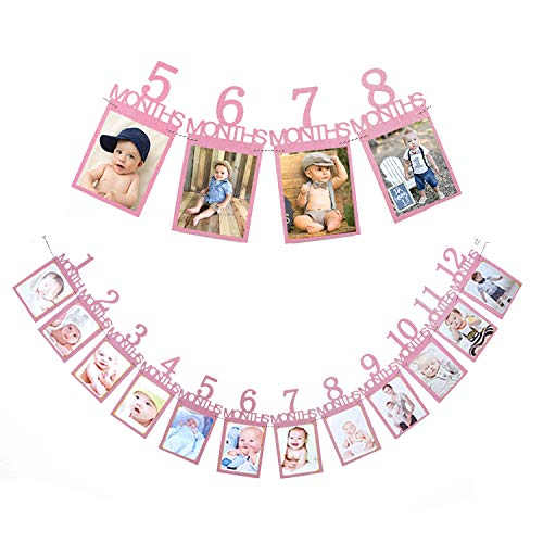 Qibote 1st Birthday Bunting Garland Baby Photo Banner Baby 1-12 Month Pink Photo Prop Party Bunting Decoration