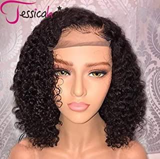 Jessica Hair 13x6 Lace Front Wigs Human Hair Wigs For Black Women Curly Brazilian Virgin Hair Glueless with Baby Hair (12 inch with 150% density)