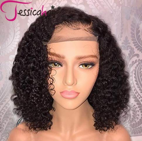 Jessica Hair 13x6 Lace Front Wigs Human Hair Short Bob Wigs Pre Plucked With Baby Hair Curly...