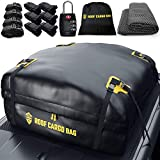 Car Top Carrier Roof Bag + Protective Mat - 100% Waterproof & Coated Zippers 20 Cubic ft - for Cars with or Without Racks