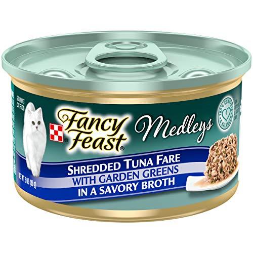 Purina Fancy Feast Grain Free Broth Wet Cat Food, Medleys Shredded Tuna Fare With Garden Greens - (24) 3 oz. Cans