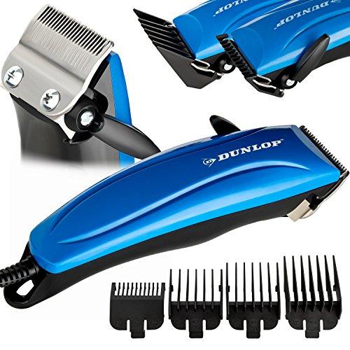 Dunlop Pro Haarschneidemaschine | Haarschneider m. Stufenregelung | präzise Schnitte |4 Aufsatzkämme 3-12mm | ergonomischer Griff | Klingen aus rostfreiem Edelstahl | inkl. Schere, Kamm, Öl (Blau)
