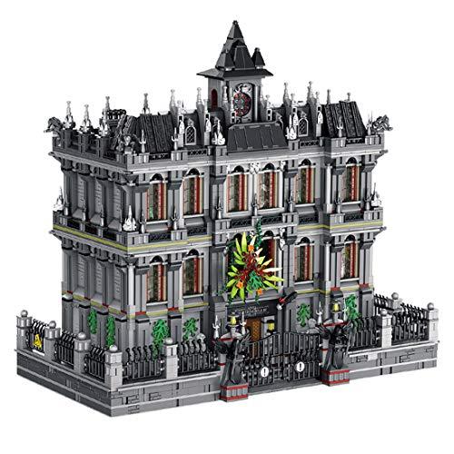 PEXL Haus Bausteine Bausatz, 3-Etagen Irrenhaus Modular Architektur Modell mit LED-Beleuchtung, 7530 Klemmbausteine Kompatibel mit Lego