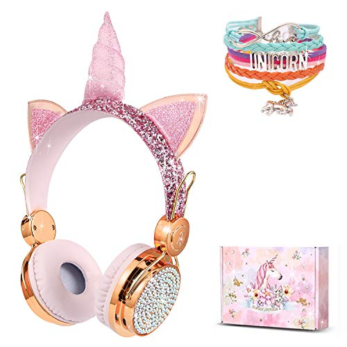Charlxee Kids Wireless Headphones with Microphone for School,Giant Unicorn Gifts for Girls Children Birthday,On Over Ear Wired Headset with HD Sound/Kindle/Tablet/Online Study (Gold)