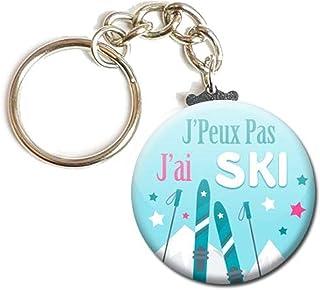 Porte Clés Chaînette 3,8 centimètres j' peux pas j' ai Ski Idée Cadeau Accessoire Humour Homme Femme Excuse