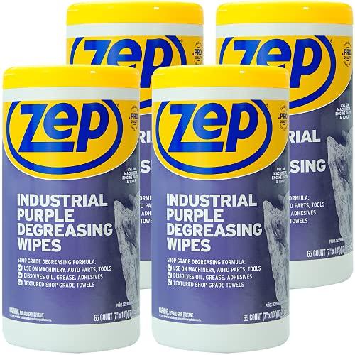 Zep Industrial Purple Heavy-Duty Degreasing Wipes 65 Wipes ZUINDPRPL65 (Case of 4)