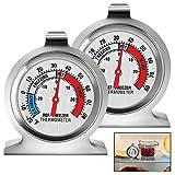 Termómetro refrigerador, 2 piezas, termómetro de temperatura para congelador, esfera grande con indicador rojo, práctico termómetro para nevera, para el hogar, restaurantes, cafeterías, congelador,