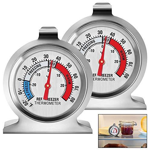 BETOY Lot de 2 thermomètres pour réfrigérateur et congélateur Grand cadran avec indicateur rouge