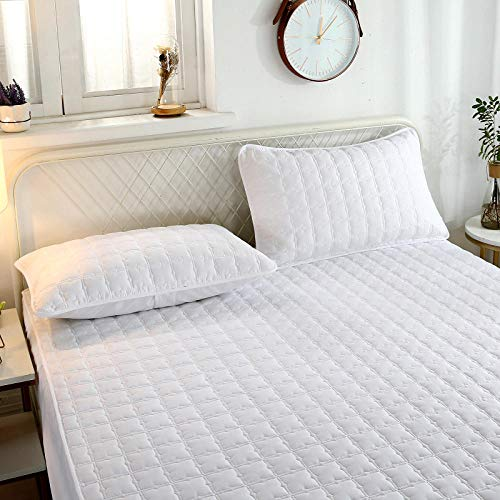 YFGY Extra Deep Fitted Sheets single,Pure Cotton Quilted Thick Mattress Protector, Non-Slip Bedspread Hotel For Bedroom Hotels Apartments white 90 * 190cm