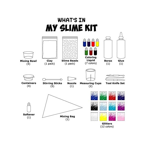 Make Your Own Slime! Kit W/ Containers & Lids, Clay, Foam Beads, Glue, Glitter Powders with Accessories! Recipes for Making Color and Different Types of Slime How to Make Slime Recipes Included 4