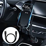 WALOTAR USB C PD Car Cigarette Lighter iPhone Mount Holder- Fast Car Charger 45W Power Delivery Dual Port(USB TypeC+QC3.0),Adjustable Cell Phone Cradle with USB C to Lightning Cable