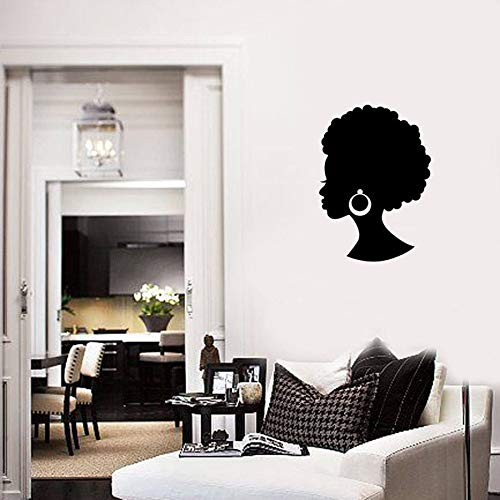 Pegatinas de pared de niña africana cansada Hermosa dama negra Salón de belleza Pendientes de pelo Decoración mural Dormitorio moderno Pegatinas de pared de vinilo Muy melancólico