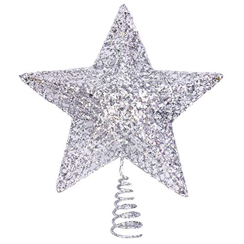 Boieo Silver Glitter Five-Pointed Star Christmas Tree Toppers 6'