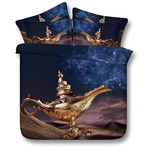 Aymayo Bedding Fairytale World - Aladdins Lamp Theme Printed Bedding Set - Soft Microfibre Duvet Cover 135 x 200 cm and Pillowcase 50 x 75 cm, 135×200cm