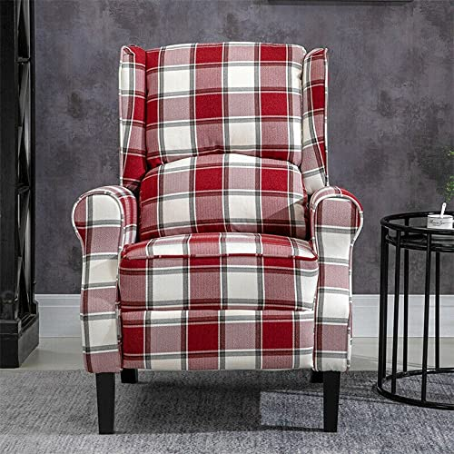 HUIJK Wing Back Fireside Check Fabric Recliner Armchair Sofa Lounge Cinema Chair Home