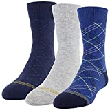 Gold Toe Boys' Dress Crew Socks, 3 Pairs, Classic Blue, Grey, Blue Night, Shoe Size: 9-2.5