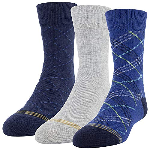 Gold Toe Boys' Dress Crew Socks, 3 Pairs, Classic Blue, Grey, Blue Night, Shoe Size: 3-9