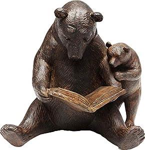 Kare Design Deko Objekt Reading Bears, Wohnzimmer Dekoration im Kolonialstil, Bärenfamilie Deko Braun, Dekoobjekt Animal, Polyresin (H/B/T) 18x20x15,5cm