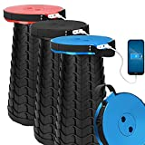 3 Packs VpnDiyp Portable Telescoping Stool with 4400Mah Phone Charger Port ,2021 Upgraded Max Load 550LB Retractable Collapsible Stool ,Lightweight Sturdy Adjustable Folding Stool for Camping,Travel
