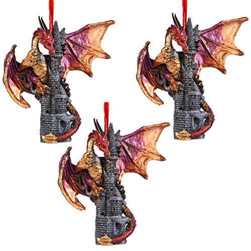 Christmas Tree Ornaments - Zanzibar the Gothic Dragon on Castle Holiday Ornament: Set of Three - Dragon Statue