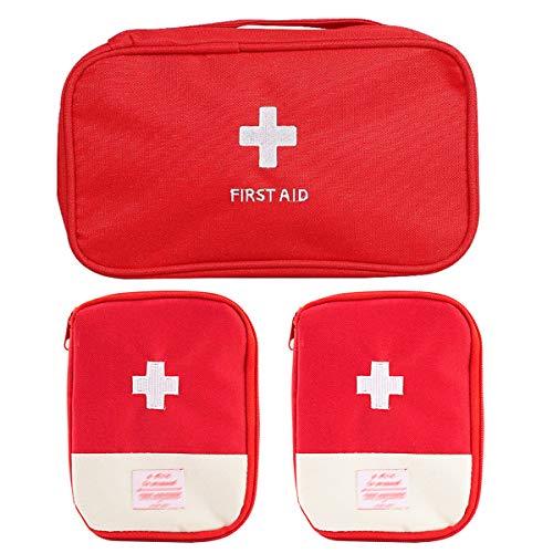 Kit di Pronto Soccorso,Zuzer 3PCS Kit di Primo Soccorso Vuota Borsa di Pronto Soccorso Pacchetto di Medicina per Casa Ufficio Viaggio Campeggio(Grande + piccolo)