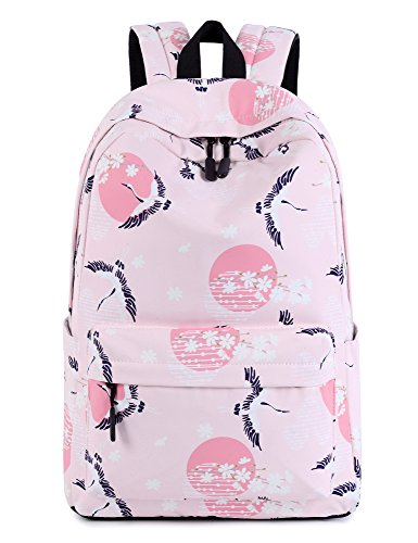 Leaper Crane Laptop Backpack Girls Travel Bag School Backpack Daypack Pink