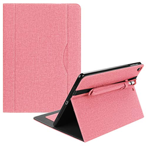HONGYUE Cloth Pattern PU Case for iPad 9.7 inch (2018) & (2017) & (2016) & iPad Air 2 & iPad Air, with Card Slot & Pen Groove(Black) (Color : Pink)