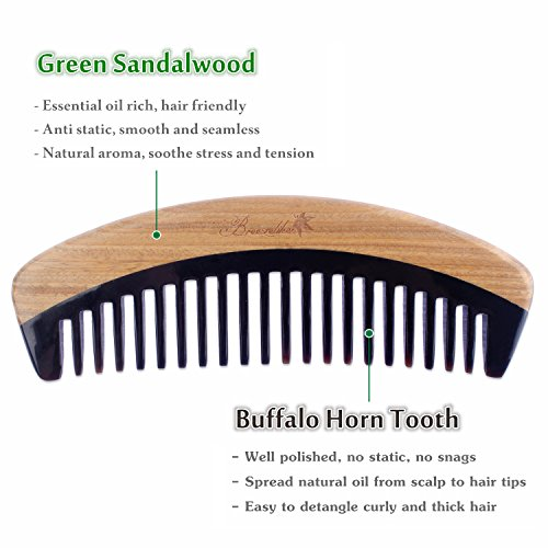 Breezelike Hair Comb – Wide Tooth Wooden Detangling Comb for Curly Hair – No Static Sandalwood Buffalo Horn Comb for Men and Women