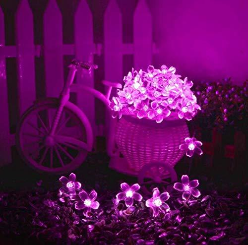 Kansang Outdoor Solar Fairy Light, 50led Solar Peach Flower String, Used In Garden, Balcony, Terrace, Wedding, Party