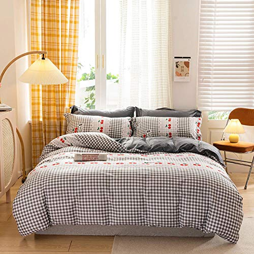 geek cook Winter bedding set,Four-piece set of autumn and winter cotton plus velvet thickened warmth pure cotton sheets crystal velvet flannel bedding-Cherry_Increase