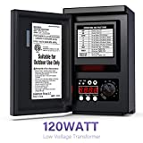 GOODSMANN Low Voltage Transformer 120 Watt with Timer, Photo Eye Sensor and Weather Shield for Outdoor Lighting 120V AC to 12V AC 9920-9120-01