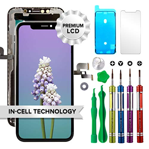 Ace Tech Compatible with iPhone XR LCD Screen Replacement 6.1 inch (Model A1984, A2105, A2106, A2108) Touch Display digitizer Repair kit Assembly Metal Backplate preinstalled
