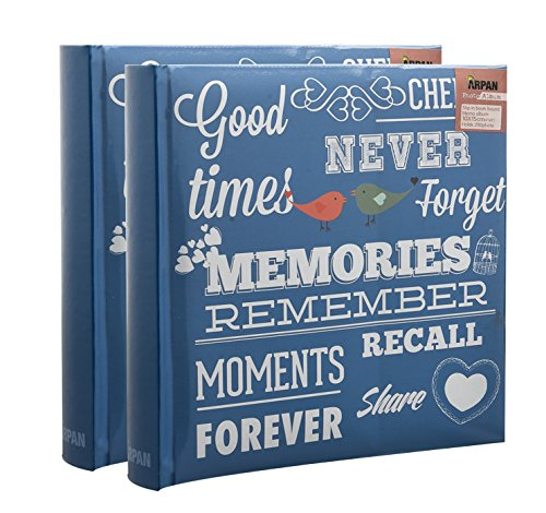 2 x Travel/Holiday Destinations/Memory Photo/Picture Album with Memo Writing Area and Decorative Vintage/Text Design on Front to Fit 200 6 X 4'' / 15 x 10 cm Photos by Arpan (Blue Memories Slogan)