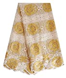 SanVera17 African Lace Fabric Net Lace Fabric Sparkling Nigerian Fabric for Party Dress (Gold) 5 Yards