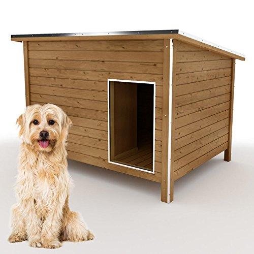 happypet® Hundehütte L oder XL - Hundehütte in L-Format, Echtholz-Hütte DK120-2 wetterfest, isoliert, mit Windfang, Outdoor Hundehaus für große Hunde, Platz für Hundebett, mit hohen Standbeine, aus Massivholz 120 x 90 x 90 cm