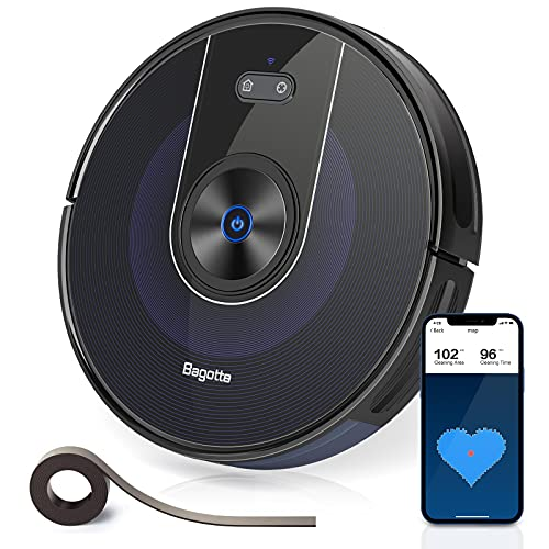 Bagotte BG800 Robot Vacuum Cleaner, Wi-Fi Connection Mapping, 2200Pa Suction, Alexa & App Control, Boundary Strips Included, Quiet, Self-Charging, Ideal for Pet Hair, Carpets, Hard Floor
