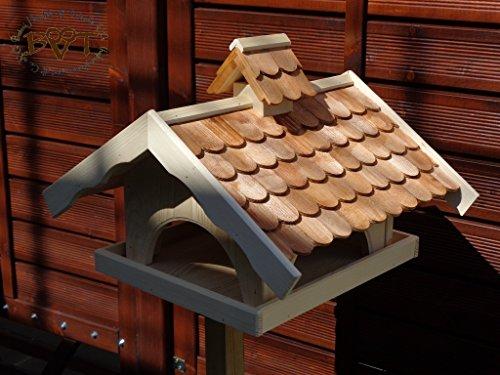 Vogelhaus mit Nistkasten BTVK-VONI5-dbraun002,groß,wetterfest,PREMIUM-Qualität,Vogelhaus,VOGELFUTTERHAUS + Nistkasten 100% KOMBI MIT NISTHILFE für Vögel WETTERFEST, QUALITÄTS-SCHREINERARBEIT-aus 100% Vollholz, Holz Futterhaus für Vögel, MIT FUTTERSCHACHT Futtervorrat, Vogelfutter-Station Farbe braun dunkelbraun schokobraun rustikal klassisch, Ausführung Naturholz MIT TIEFEM WETTERSCHUTZ-DACH für trockenes Futter - 2