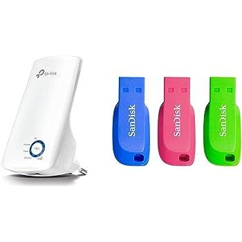 TP-Link TL-WA850RE - Repetidor de Red WiFi Extensor Amplificador de Cobertura(Puerto Ethernet,10/100 mbps) + SanDisk Cruzer Blade- Memoria USB 2.0, Pack 3 Unidades de ...