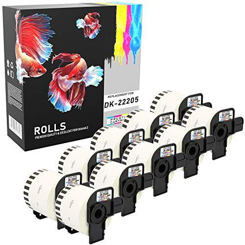 10 Rollen DK-22205 62mm x 30.48m Endlos-Etiketten kompatibel für Brother P-Touch QL-500 QL-550 QL-560 QL-570 QL-580N QL-700 QL-720NW QL-800 QL-810W QL-820NWB QL-1050 QL-1060N QL-1100 QL-1110NWB