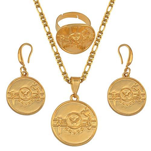 Png Hela Flagge Gold Farbe Anhänger Halsketten Ohrringe Ring Frauen Papua-Neuguinea National Jewellery Ethnische Geschenke