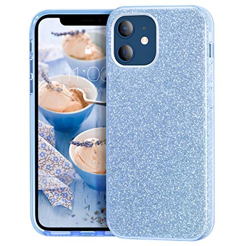 MATEPROX Klar Crystal Glitzer Handyhülle Kompatibel mit iPhone 12 Mini Hülle, Kratzfest Dünn Slim Bling Schutzhülle für iPhone 12 Mini 5.4'' 2020-Blau