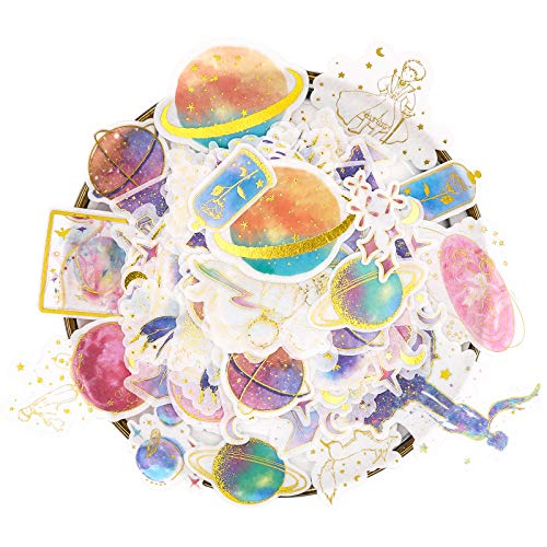 Knaid Galaxy Gold Foil Stickers Set (60 Pieces) - Watercolor Washi Sticker for Scrapbooking, Kid DIY Arts Crafts, Album, Bullet Journaling, Junk Journal, Planners, Calendars and Notebook