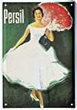 Blechpostkarte Persil Dame Lady IN Weiss Retro 10x14cm