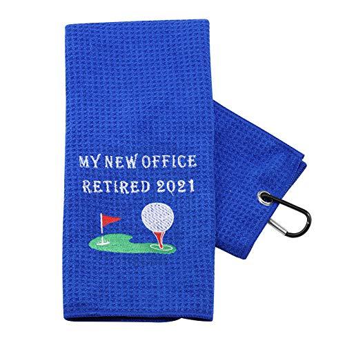 PXTIDY Office Retired Gift Retirement Golf Towel My New Office Retired 2021 Retired Queen Gift Retirement Party Gift 2021 Retirement Golf Towel Colleagues Golf Towel Gift (Blue)