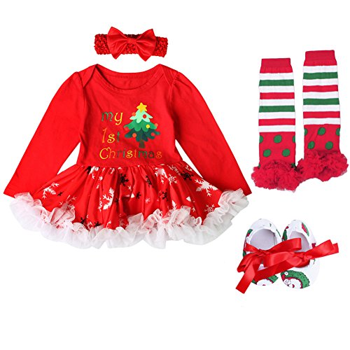 ODASDO Baby Girl My First Christmas Outfit Newborn Infant 1st Xmas Party Clothes Long Sleeve Tutu Romper Dress Headband Leg Warmers Shoes 4pcs Set Red My 1st Christmas Tree 0-3 Months