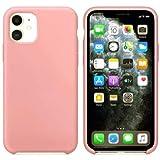 Funda de Silicona Silicone Case para iPhone 11 Pro, Tacto Sedoso Suave, Carcasa Anti Golpes Duradera y Resistente, Bumper, Forro de Microfibra (Rosa)