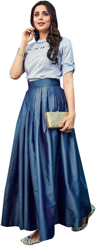 SHRI BALAJI SILK & COTTON SAREE EMPORIUM Ready to Wear Pleated Flared Skirt Indo Western Long Gown Dress 7481