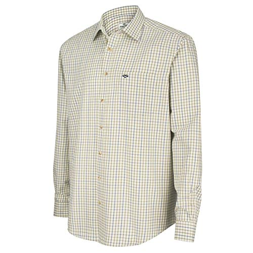 Hoggs of Fife Inverness Coton Tattersall Chemise - Marine/Olive - Bleu, S