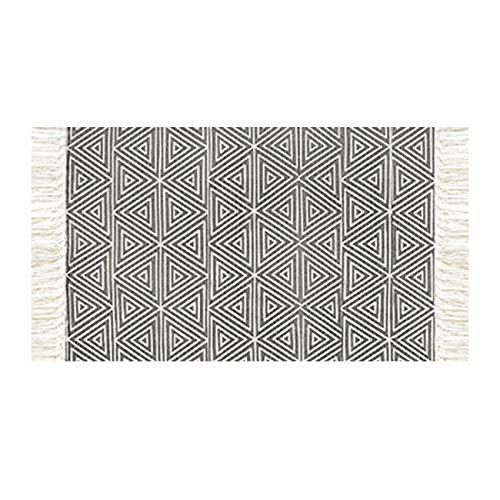 THEE Strick Matte Vorleger aus Baumwolle Strick Teppich Rutschfest Fußläufer Fleckerlteppich für Wohnzimmer Schlafzimmer Diele,S,Kahki